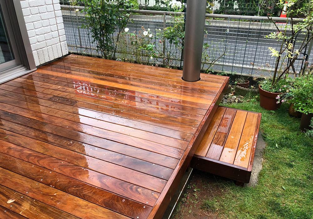 千葉県柏市の戸建てウッドデッキ11階段