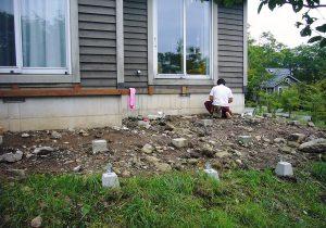 栃木県那須の別荘ウッドデッキ土台(施工前)