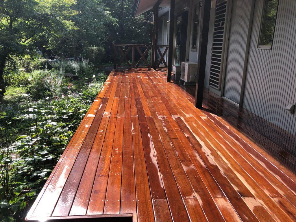 栃木県那須町の別荘ウッドデッキ(施工後)