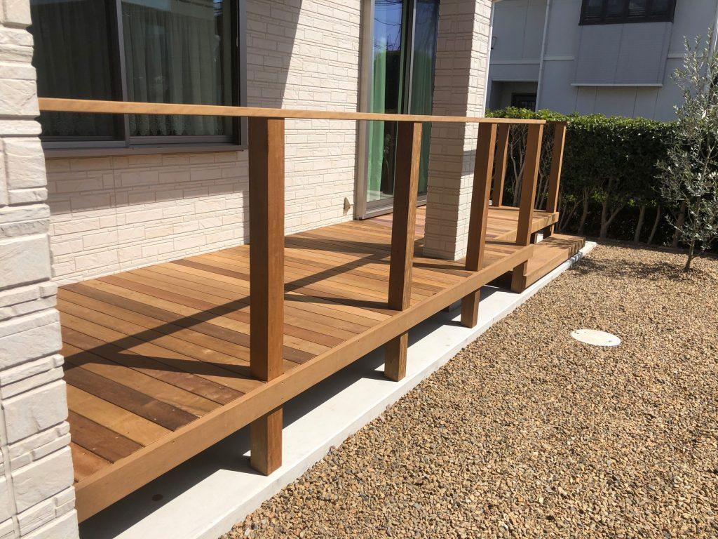 栃木県下野市の戸建て住宅にウッドデッキ設置(施工後)